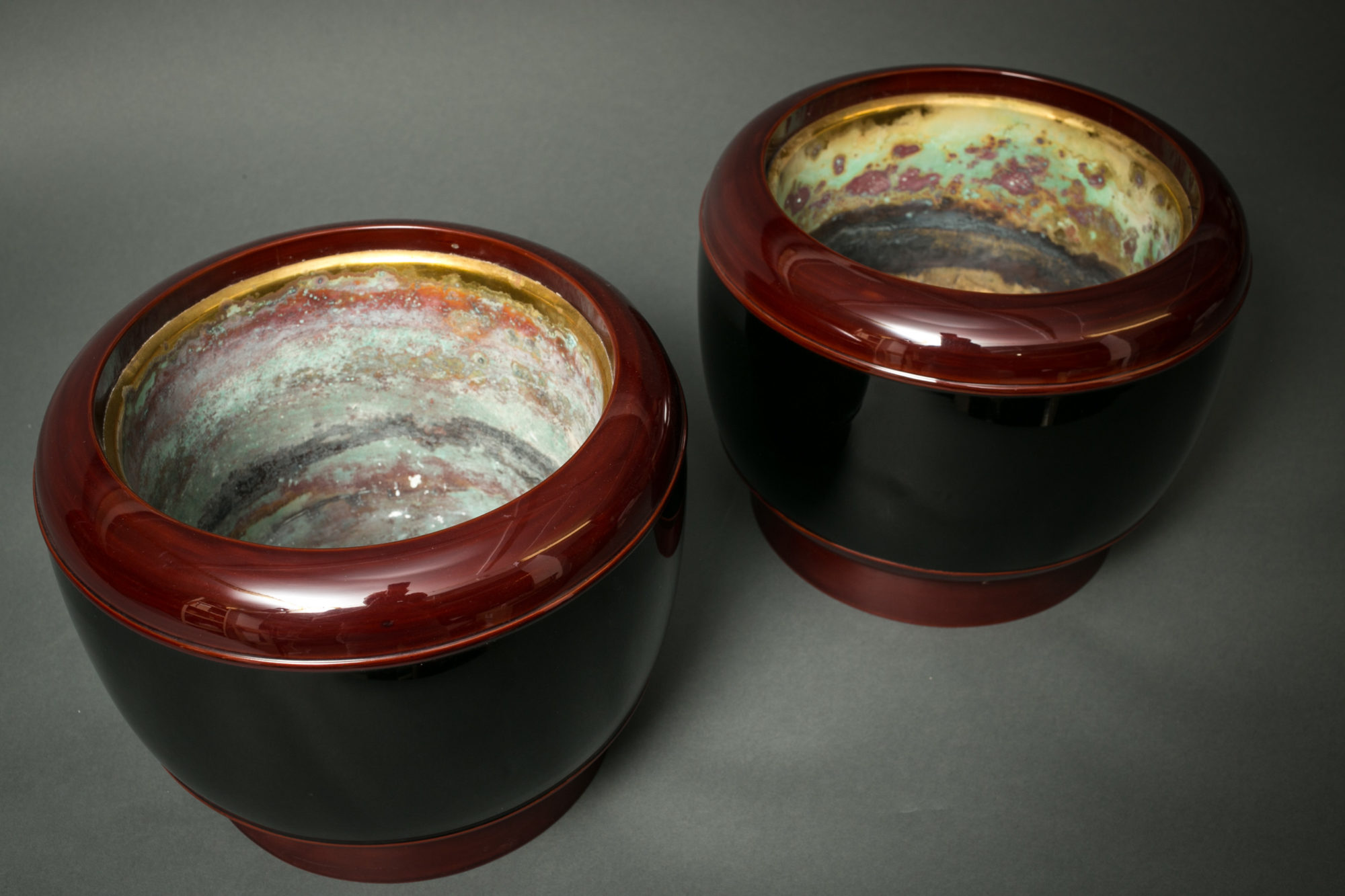 Pair of Japanese Antique Round Lacquer Hibachi