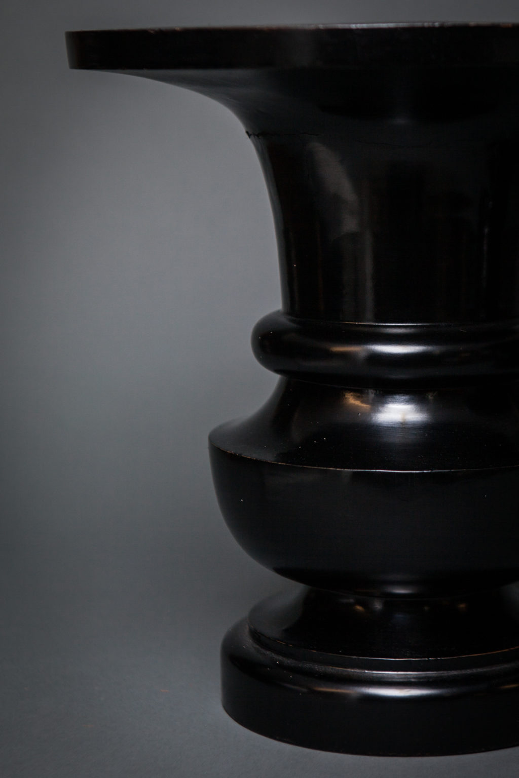 Pair of Japanese Black Lacquer and Wood Temple Flower Vases