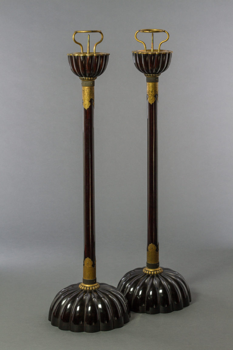 Pair of Japanese Black Lacquer Candlesticks