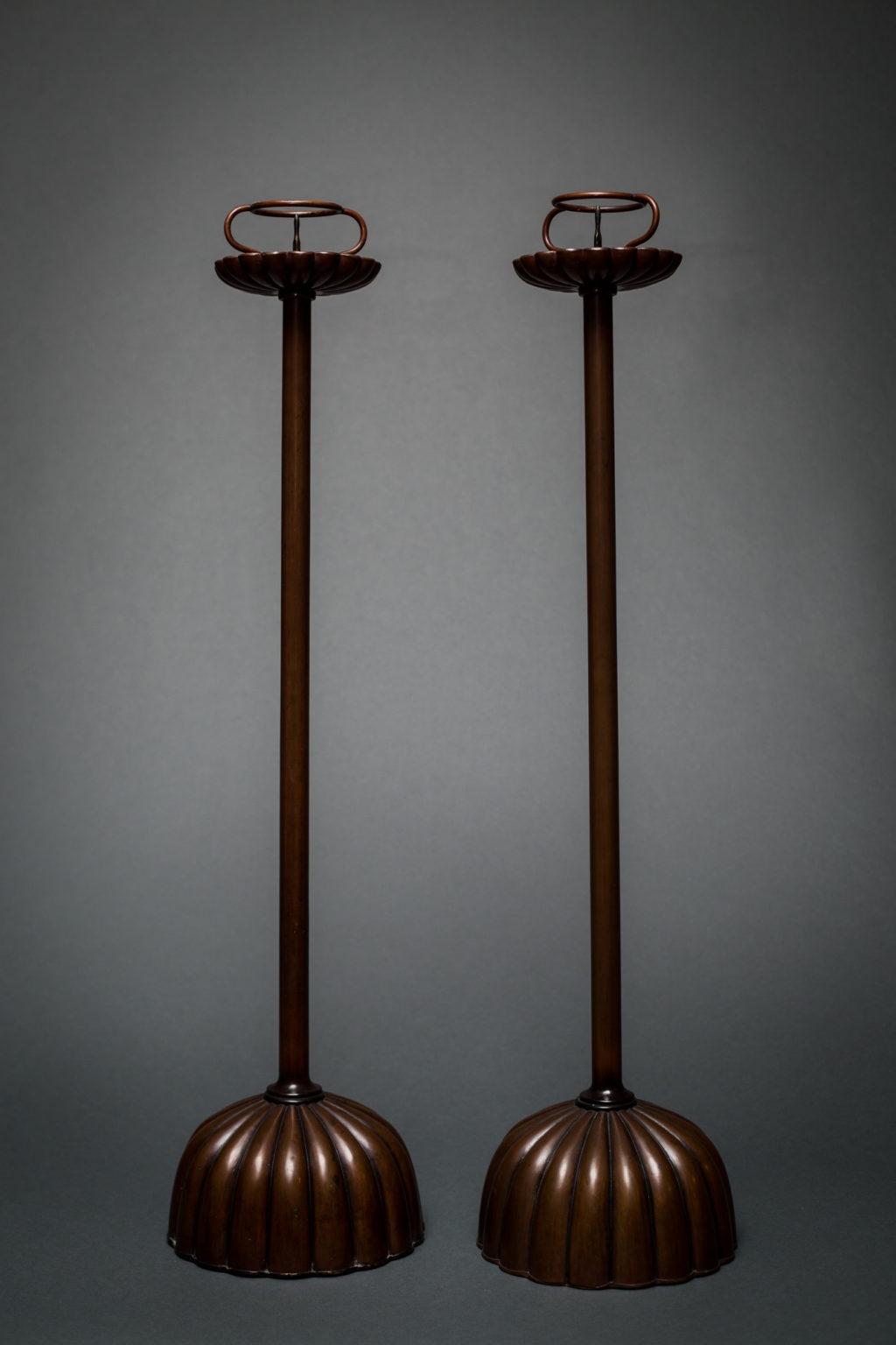 Pair of Japanese Copper-Patina Bronze Candlesticks