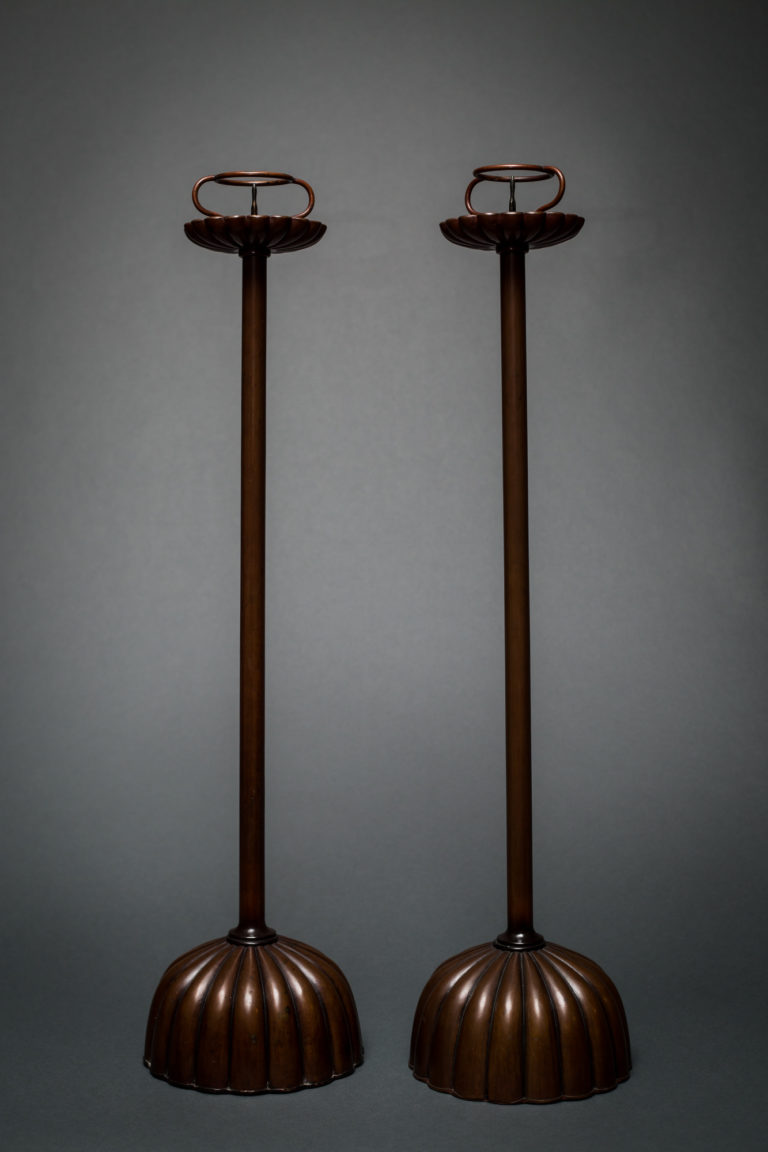 Pair of Japanese Copper-Patina Bronze Candlesticks