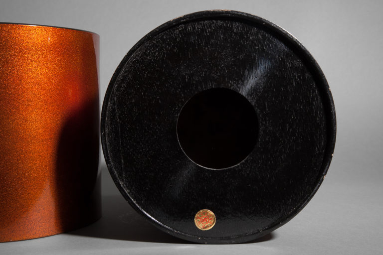 Pair of Japanese early 20th century Nashiji Lacquer Hibatchi with Copper Liners.