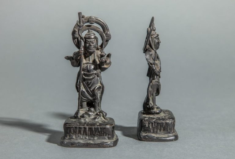 Pair of Japanese Guardian Figures in Bronze
