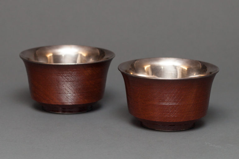 Pair of Japanese Lacquer Bowls with Silver Liners