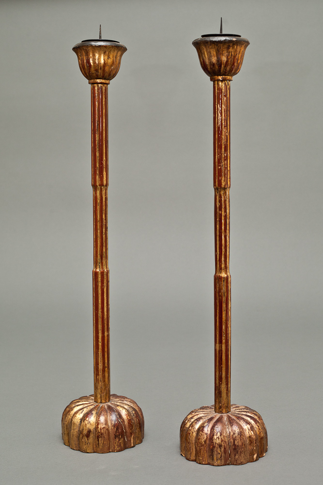 Pair of Japanese Lacquer Candlesticks
