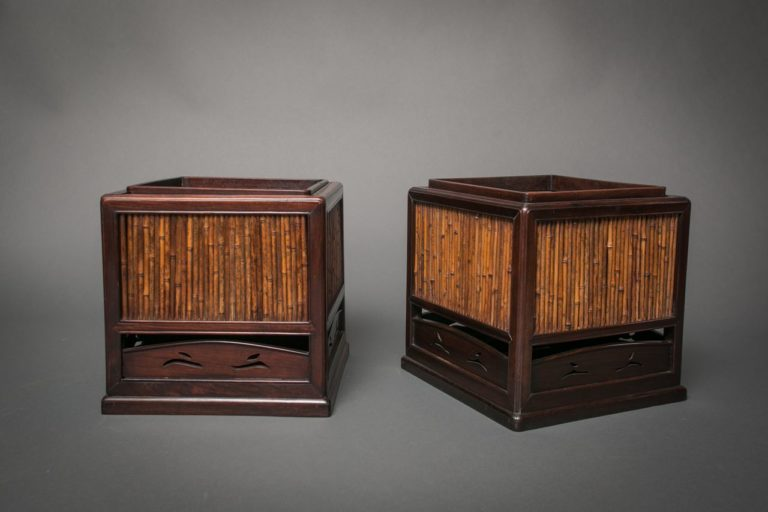 Pair of Japanese Rosewood and Bamboo Square Hibachi