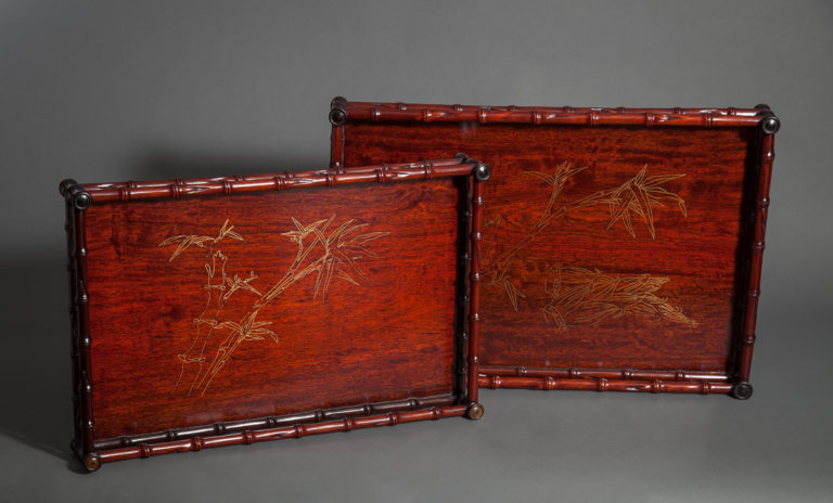 Pair of Japanese Teak Nesting Trays