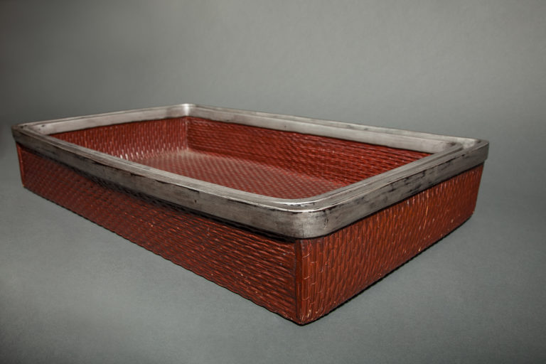 Pair of Japanese Woven Lacquer Nesting Trays