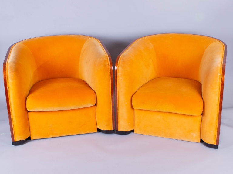 Pair of Karl Springer Mahogany Club Chairs