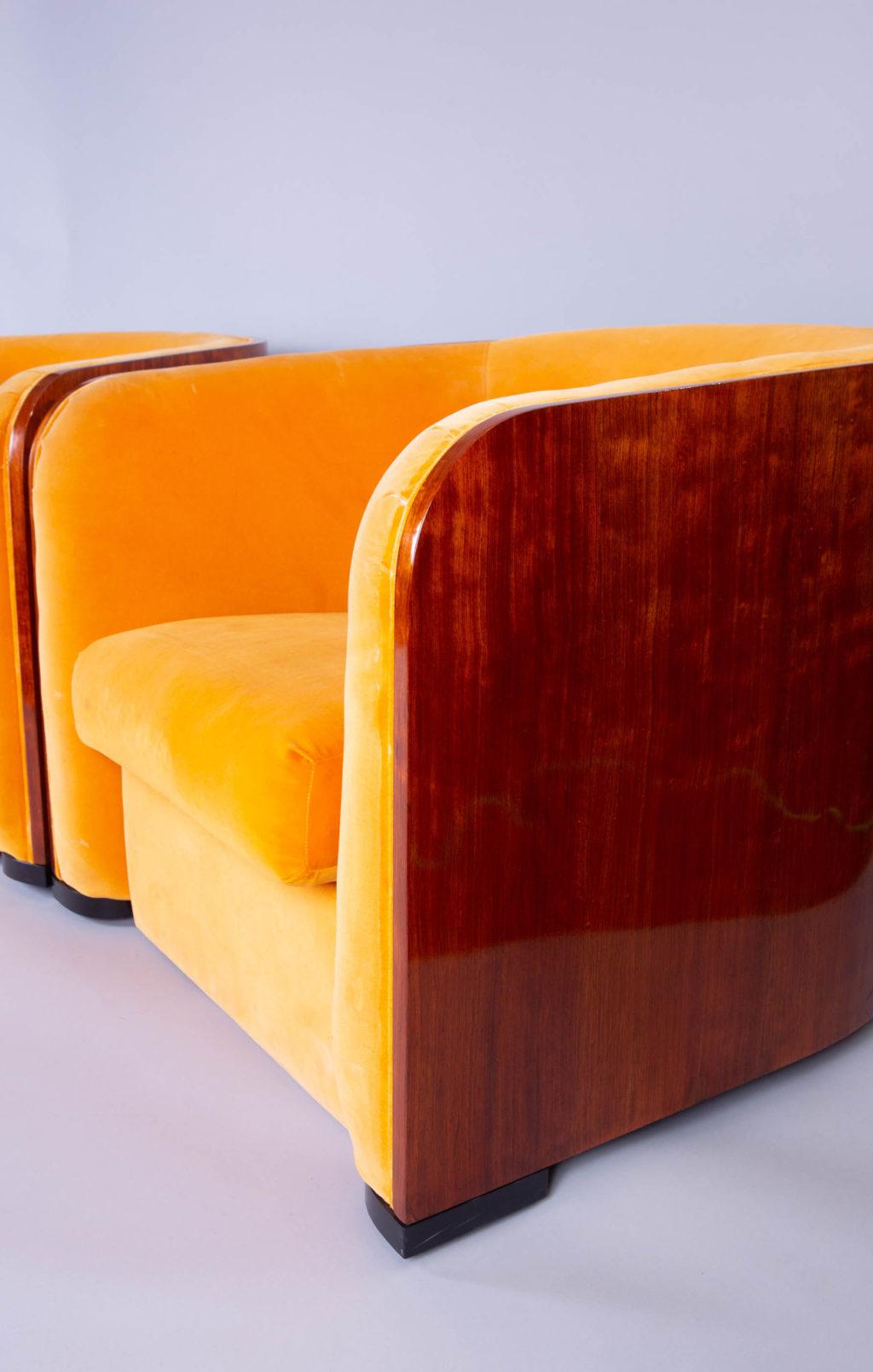 Pair of Karl Springer Mahogany Club Chairs