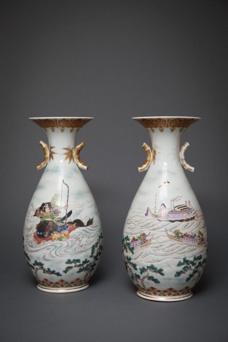 Pair of Kutani Vases, Showing Benkei and Yoshisune from Heikei Monogatari, Lady Murasaki on Reverse Side.
