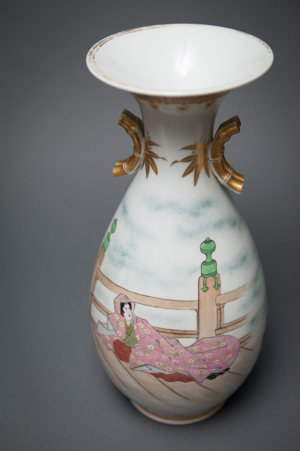 Pair of Kutani Vases, Showing Benkei and Yoshisune from Heikei Monogatari, Lady Murasaki on Reverse Side.