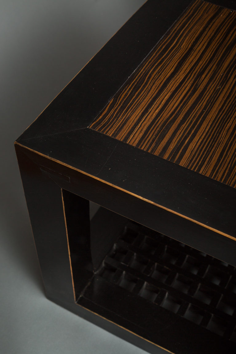 Pair of Lacquer & Zebrawood  Cubes