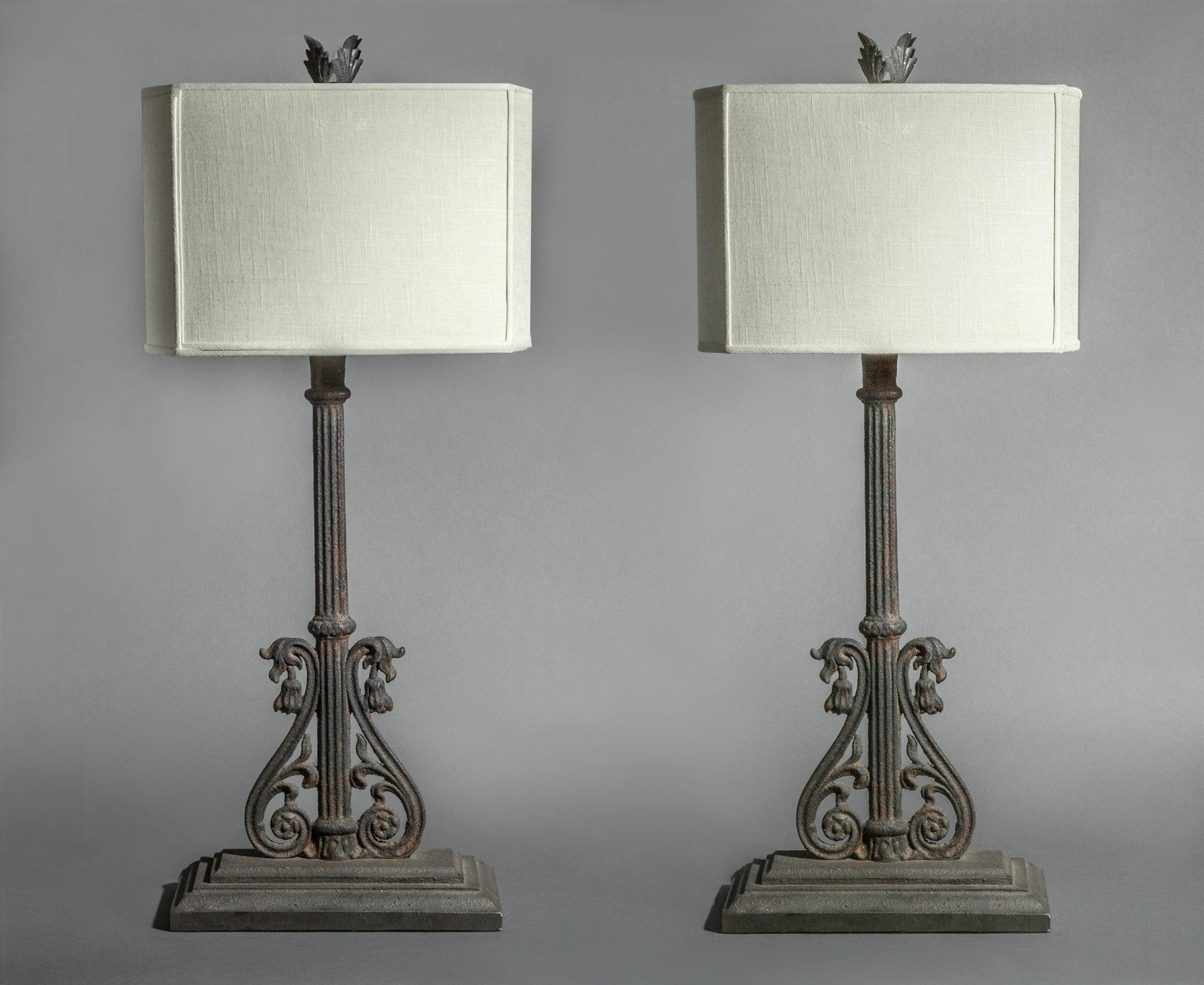 Pair of Lamps Using 19th Century Iron
