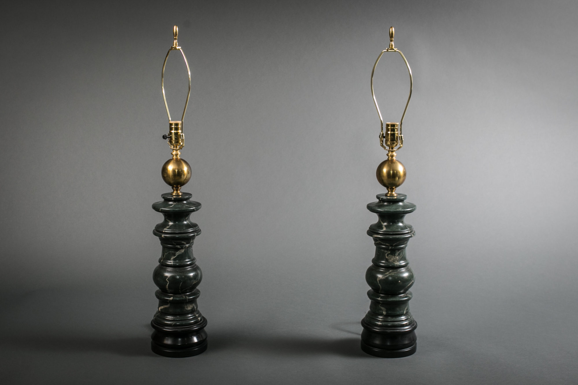 Pair of Neoclassical Style Turnwood and Faux Marble Painted Lamps