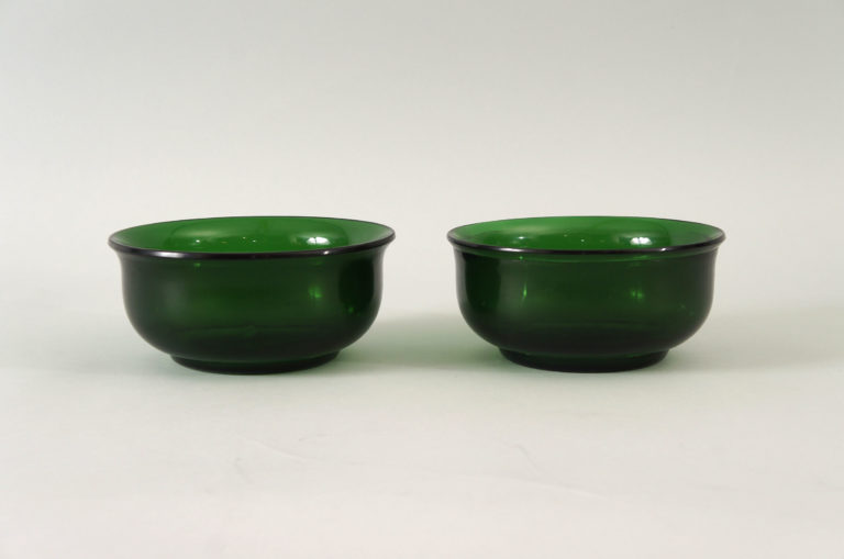 Pair of Peking Green Glass Bowls