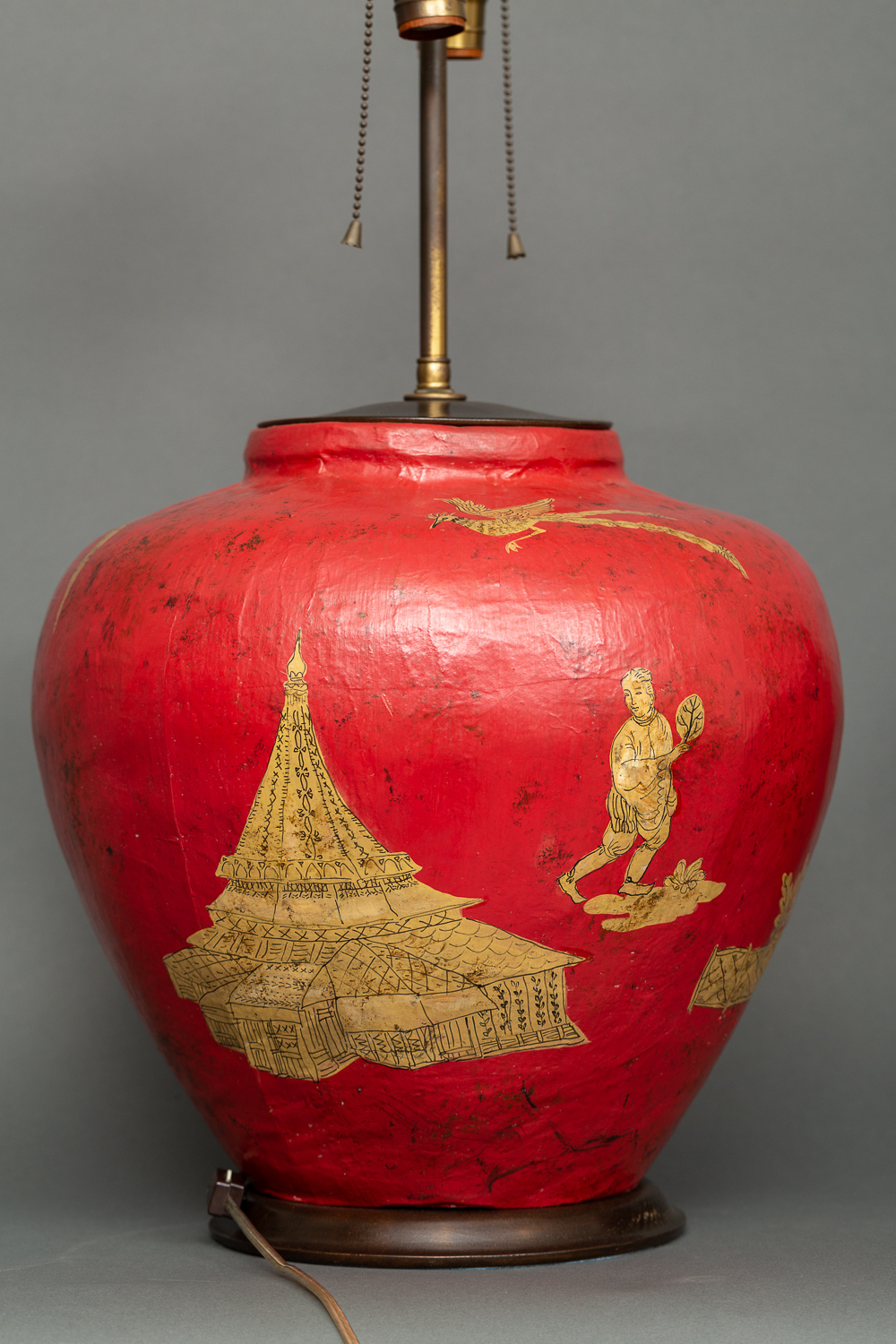 Pair of Red Papier-mâché Chinoiserie Decorated Lamps
