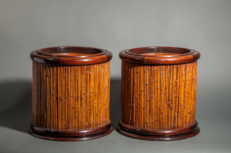 Pair of Rosewood and Bamboo Round Hibachi