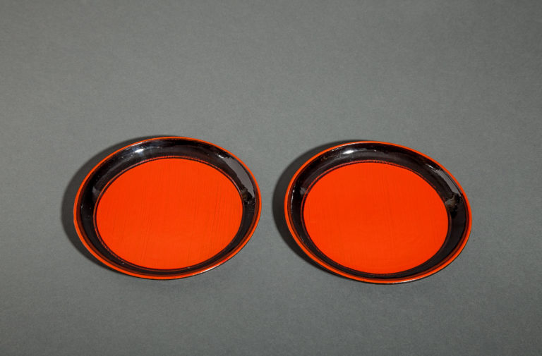 Pair of Wood and Lacquer Dishes