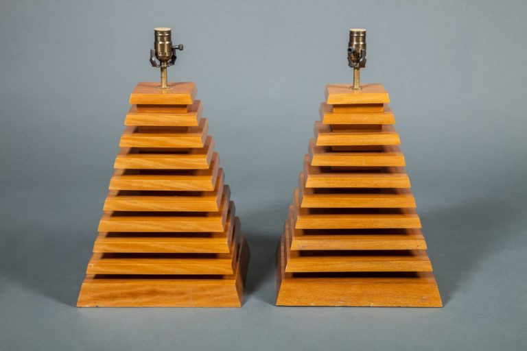 Pair of Wood Pyramid Shaped Lamps
