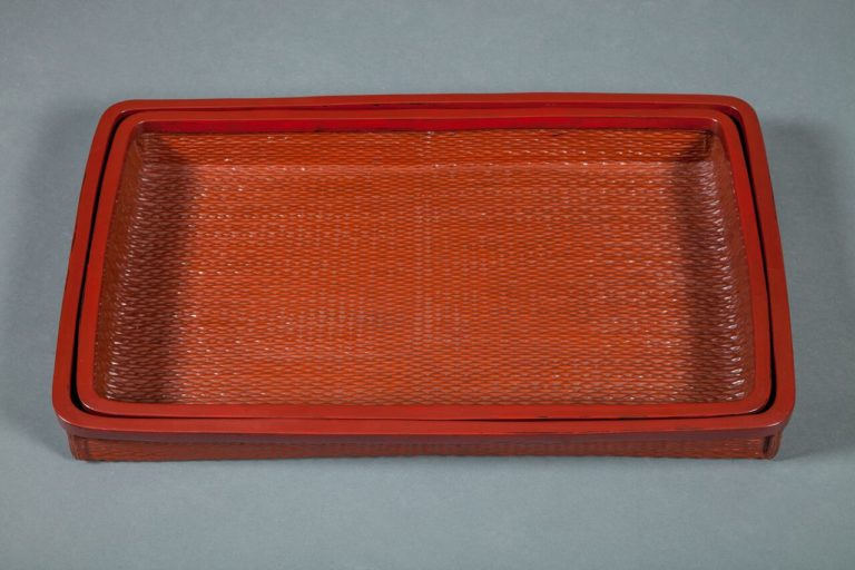 Pair of Woven Lacquered Nesting Trays