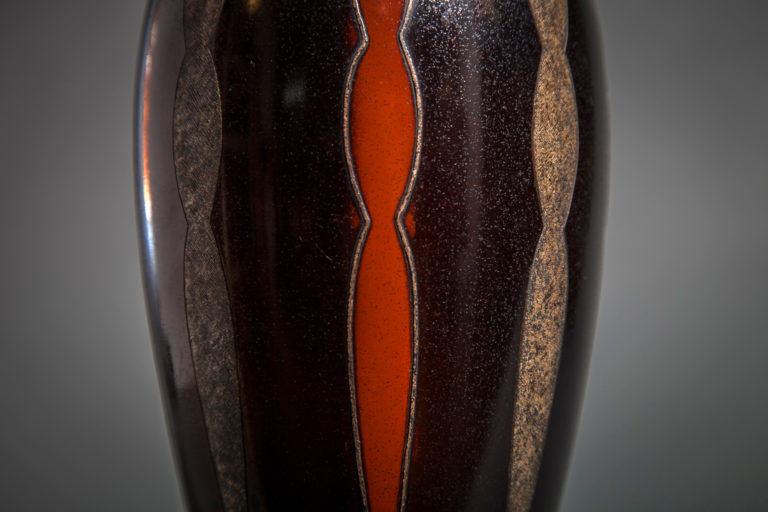 Patinaed Bronze Vase with Inlaid Silver Bead Surrounding Verticle Figures