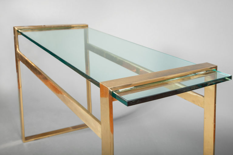 Paul M. Jones Bronze and Glass Console