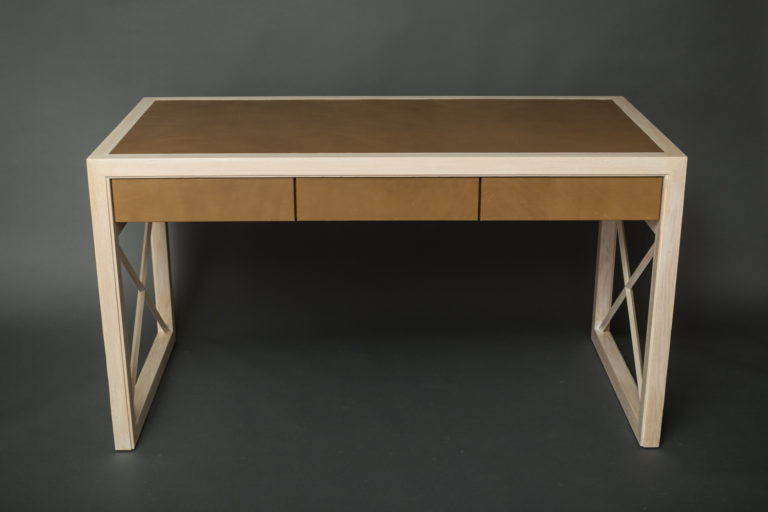 Pickled Oak and Leather Desk