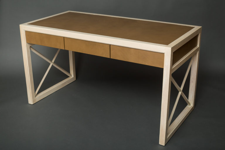 Pickled Oak and Leather Desk