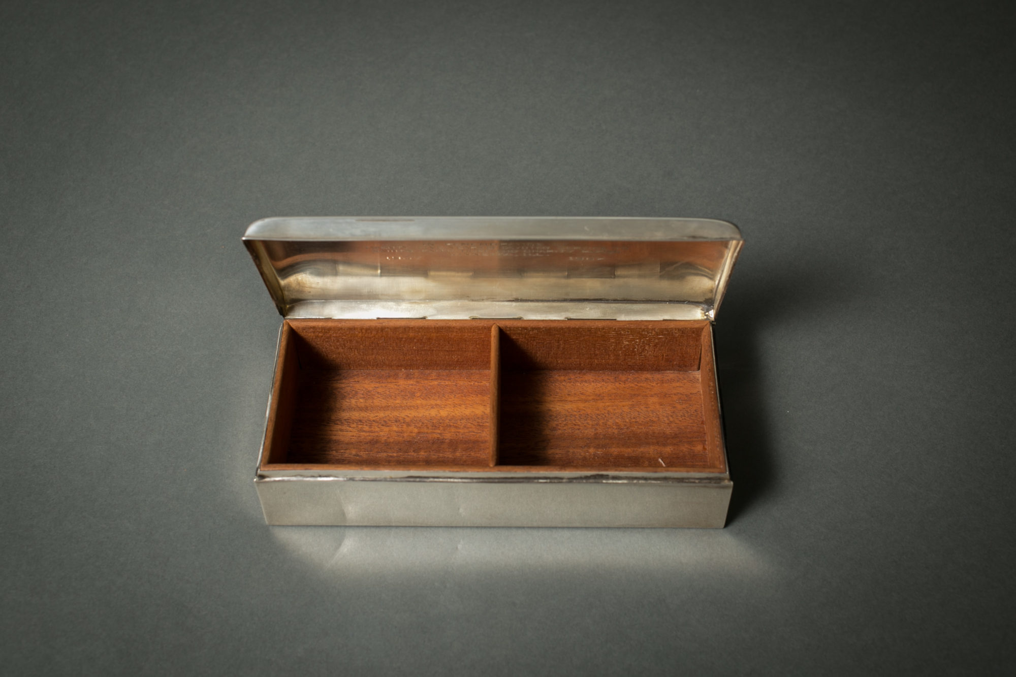 Poole Sterling Silver Cigarrette Box with Wood Liner and Inscription