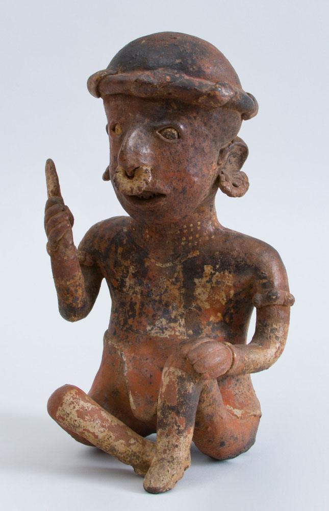 Pre-Columbian (before 1492) Proto-Classical (50 BC – 250 AD)  Painted Pottery Figure of a Seated Male