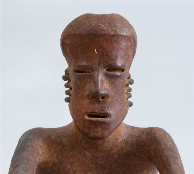 Pre-Columbian (before 1492) Proto-Classical (50 BC – 250 AD)  Red-Ground Pottery Seated Figure of a Man