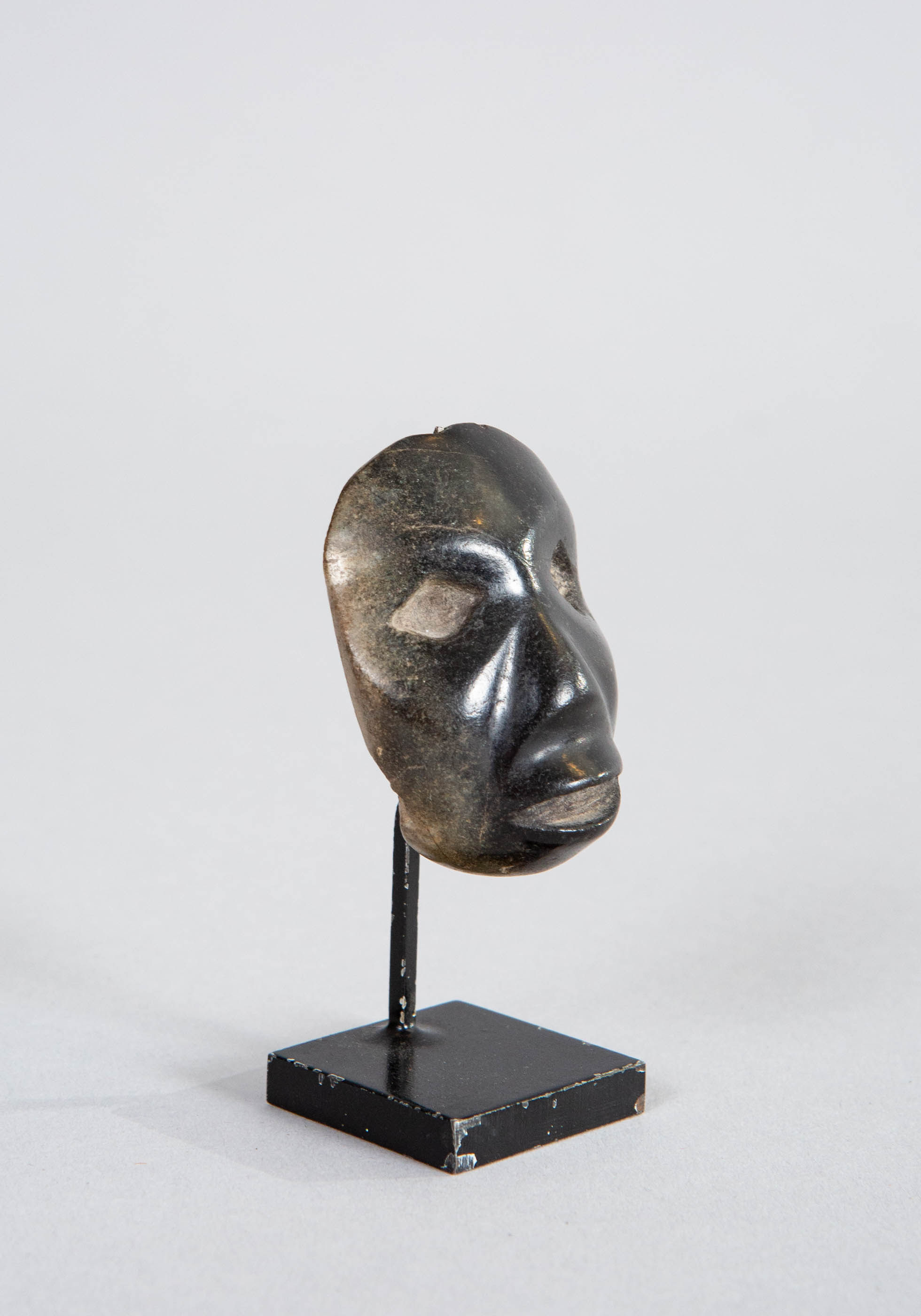 Pre-Columbian Style Carved Jade Mask Pendant Head