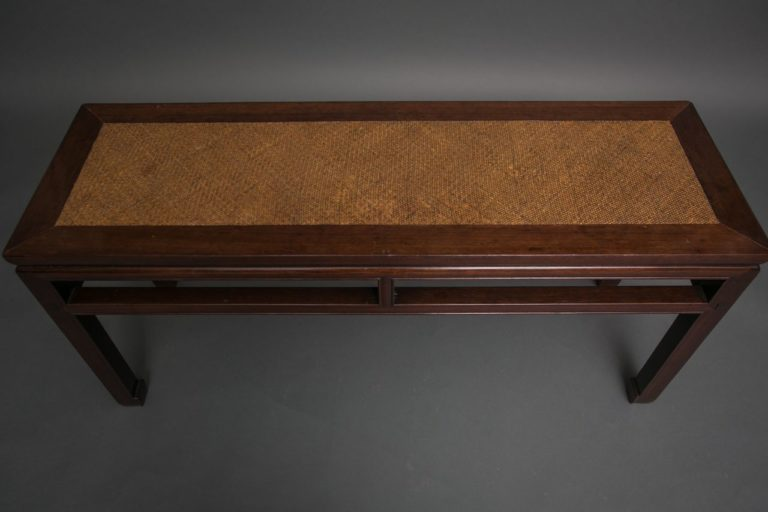 Rosewood Chinese Long Table with Woven Bamboo Top