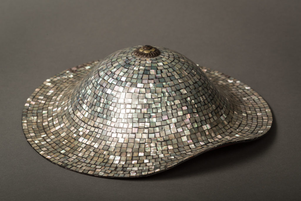 Samurai Mother of Pearl and Lacquer Jingasa (Ceremonial Helmet)