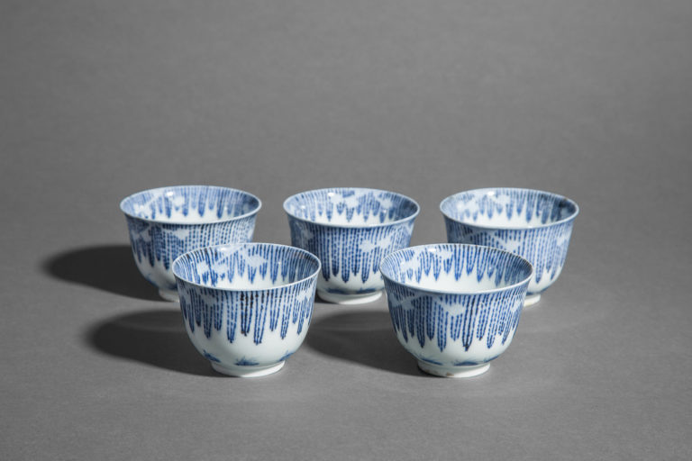 Set of 5 Blue and White Soba Cups