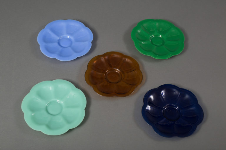Set of Seven Multi-Color Glass Plates