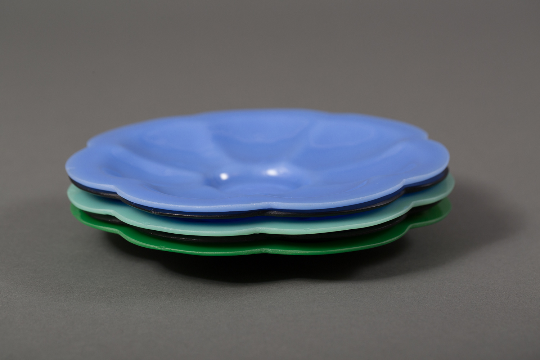 Set of Seven Multi-Color Glass Plates