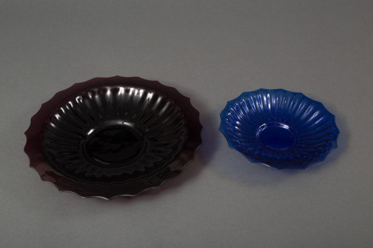 Set of 7 Multi-Color Glass Plates