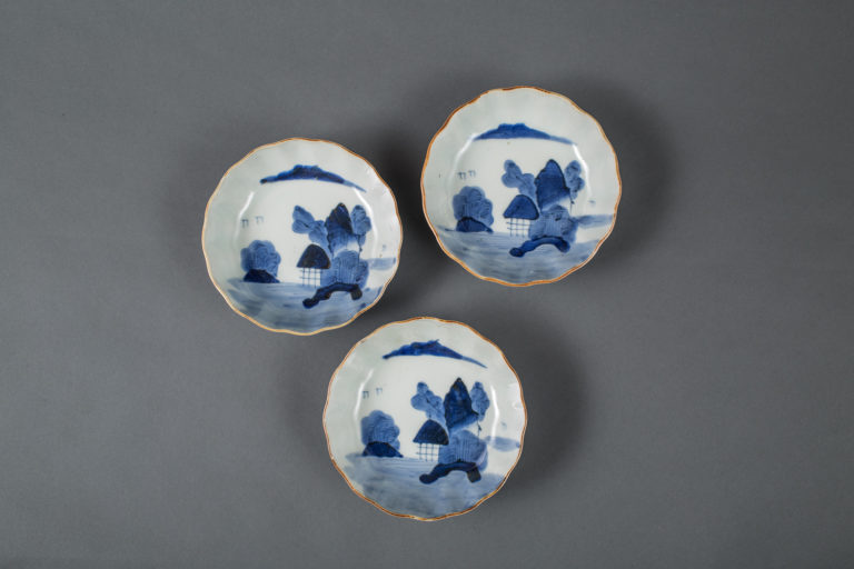 Set of Three Blue and White Japanese Imari Dishes