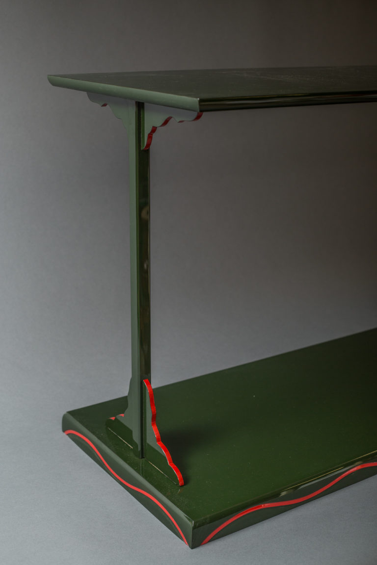Showa Period  Japanese Modular Green Lacquer Side Table