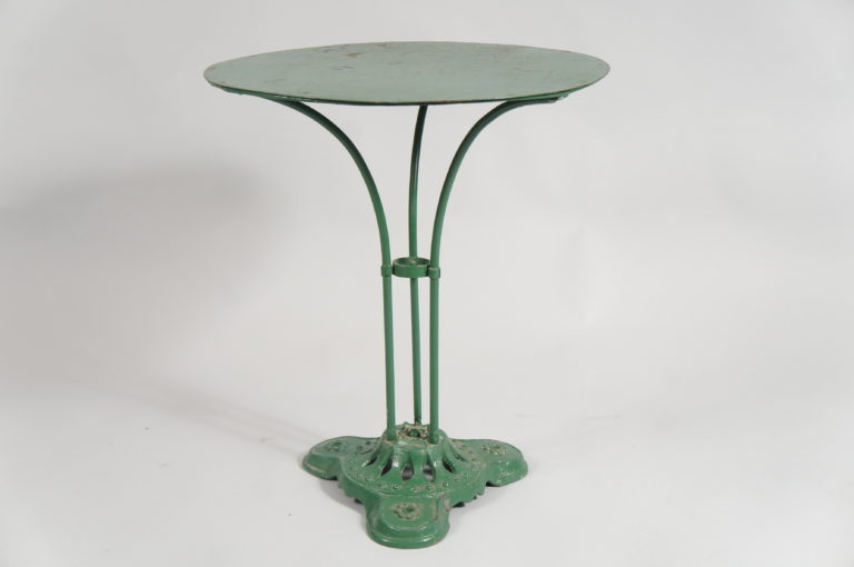 Single French Green Pedestal Iron Garden Table