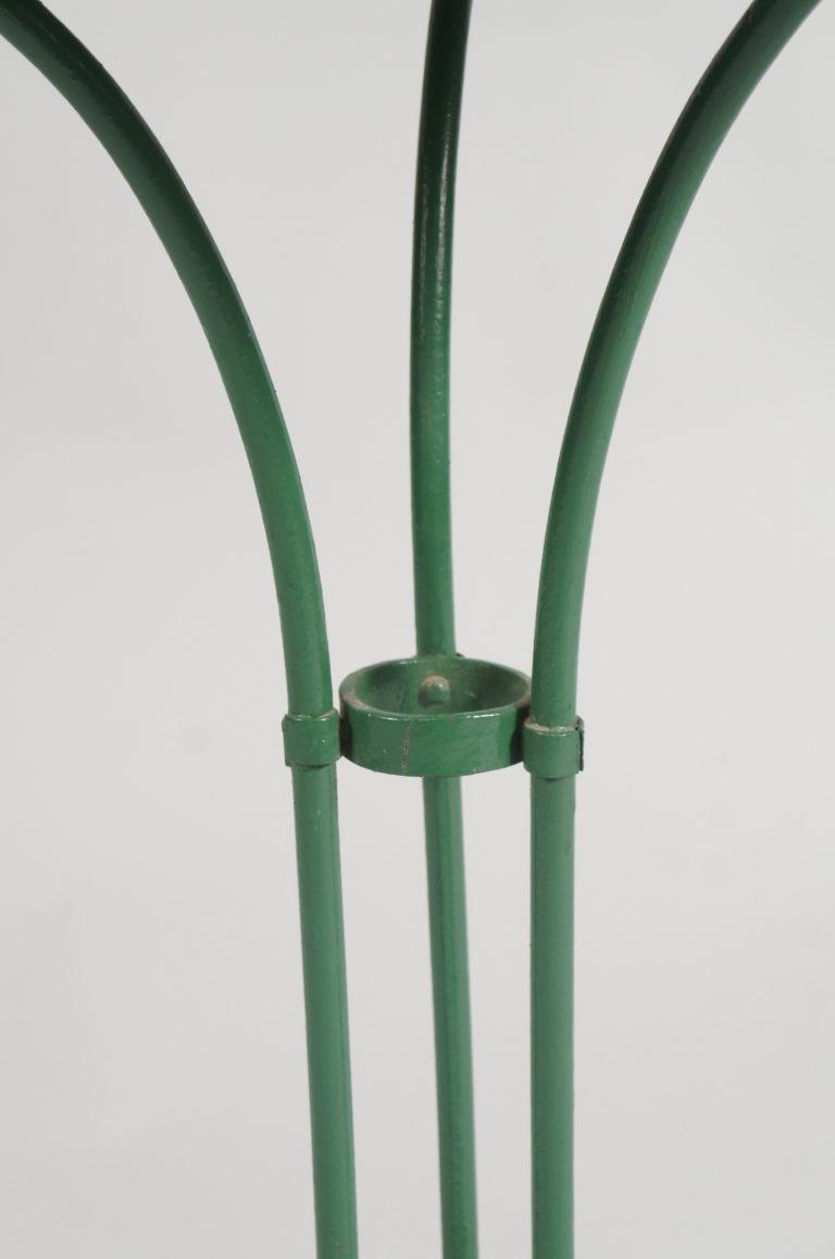 Single French Green Pedestal Iron Garden Table