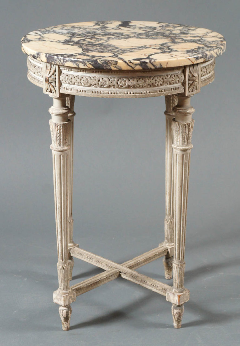 Single French Side Table with Marble Top Veining in Marble