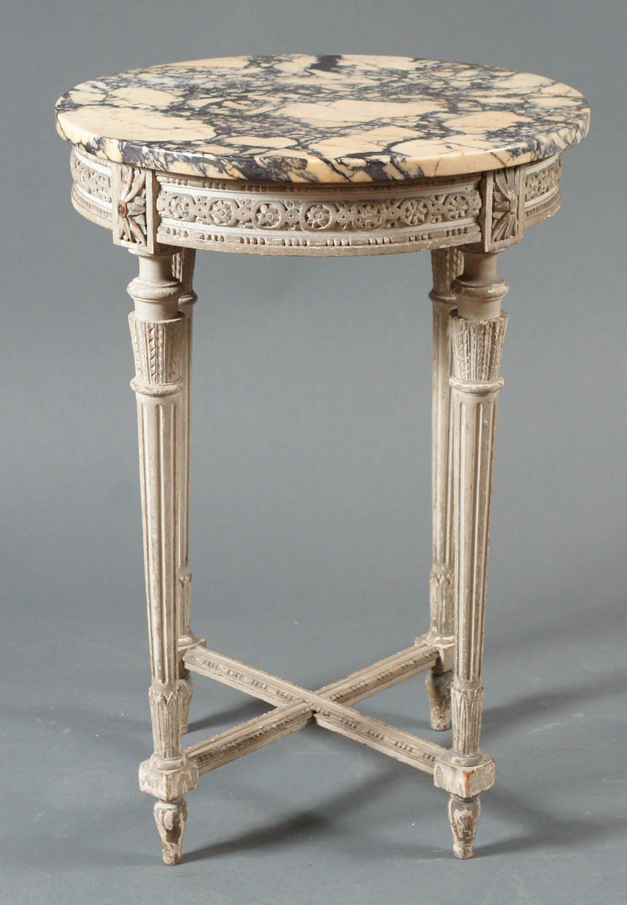 Single French Side Table with Marble Top