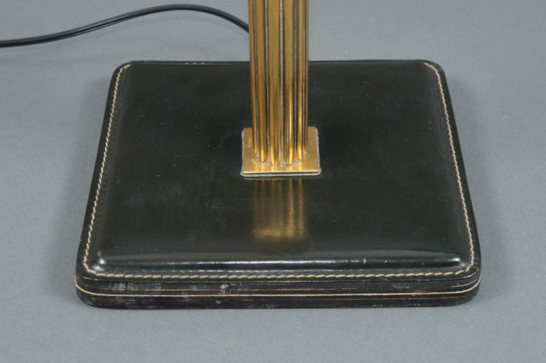 Single Table Lamp with Brass Column and Leather Base