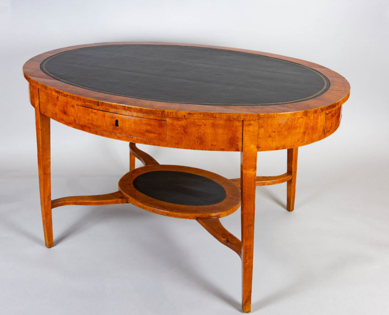 Swedish Neoclassical Birch Oval Writing Table