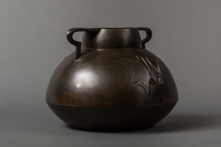 Taisho Period Bronze Vase with Butterfly Design