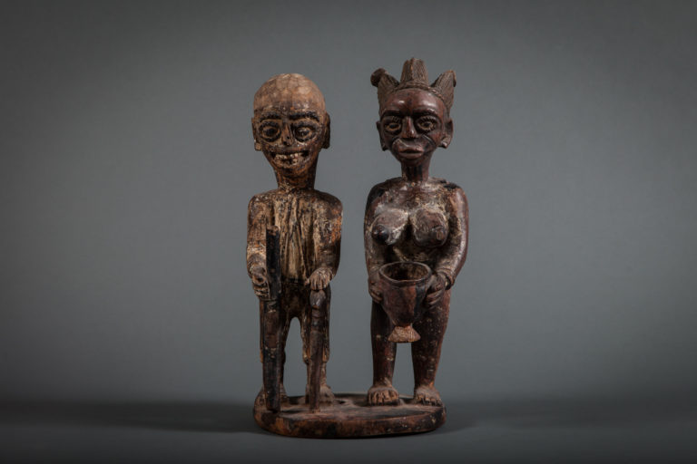 Yoruba West African Sculpture of Ancestor Couple