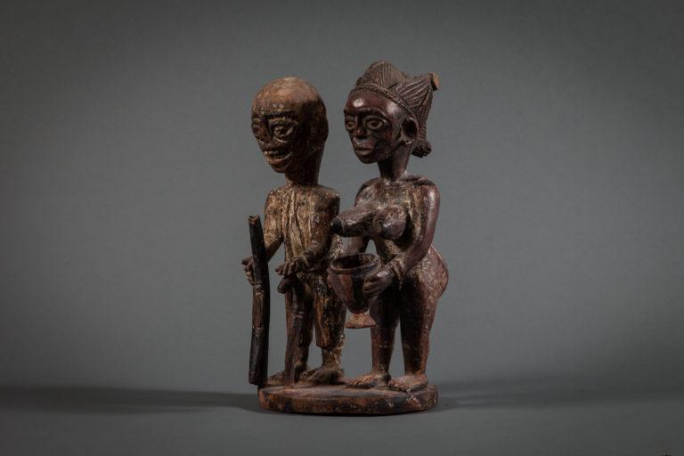 Yoruba West African Sculpture of Ancestor Couple